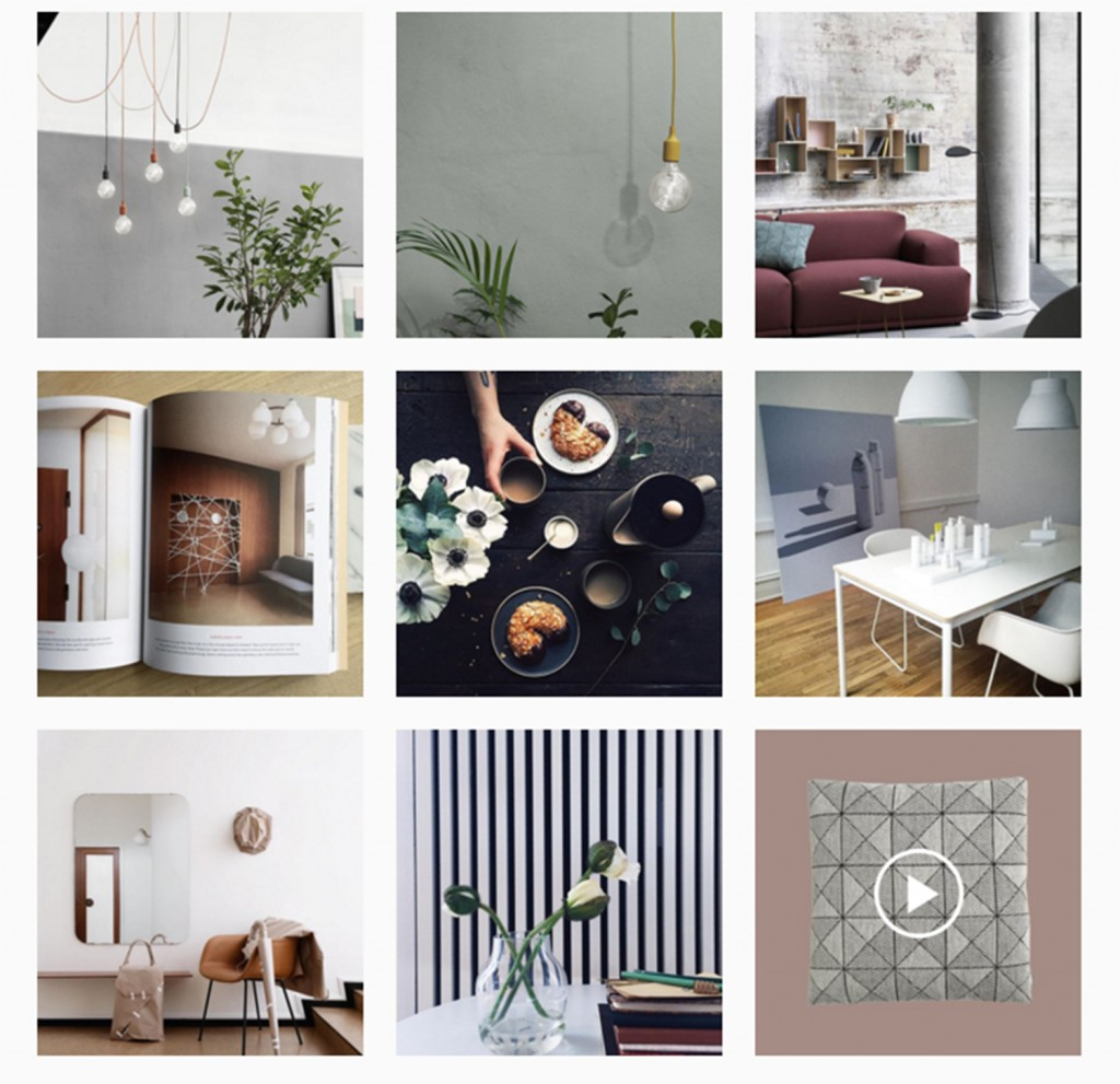 social media for design brand muuto instagram wall