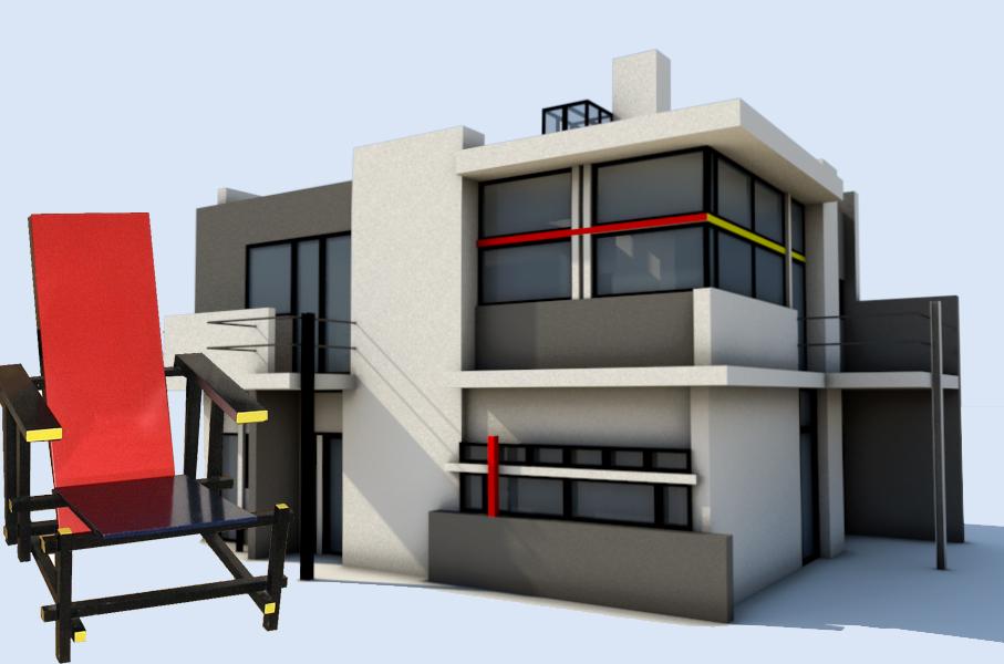 Influenze architettoniche design|| Sedia rossa e blu || #GerritRietveld