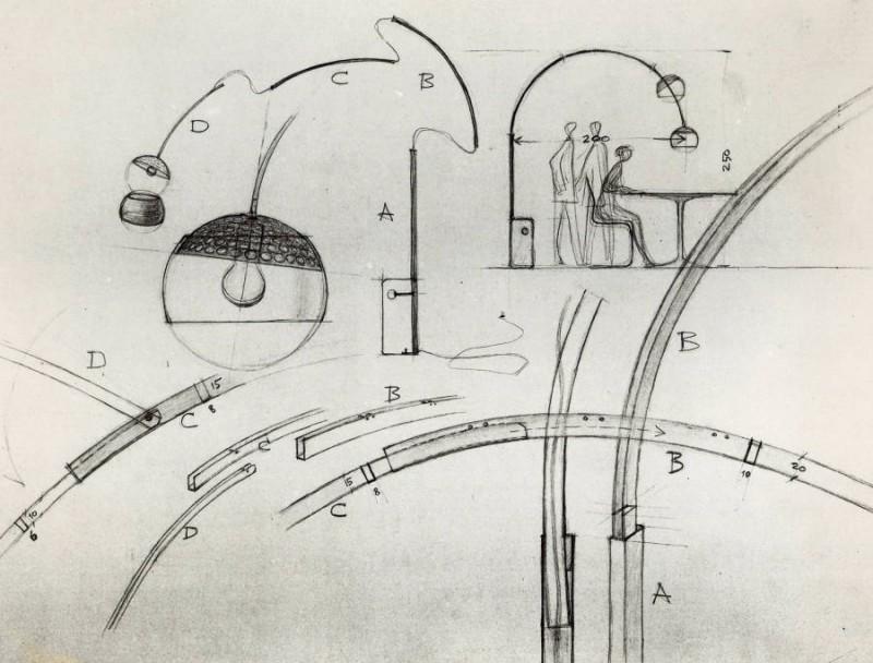 100 anni di Castiglioni - Bozzetti Arco (lampada da terra) - Achille Castiglioni - FLOS